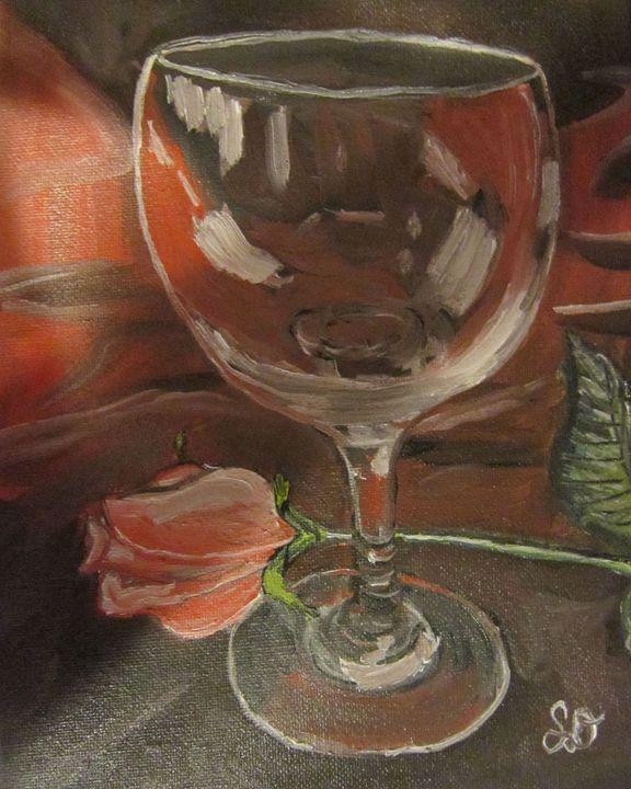 Pink Rose with Glass - Samara Doumnande Fine Art