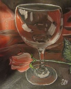 Pink Rose with Glass