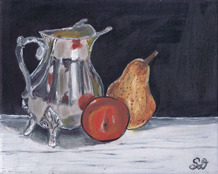 Pear and Plum with Silver Teapot - Samara Doumnande Fine Art