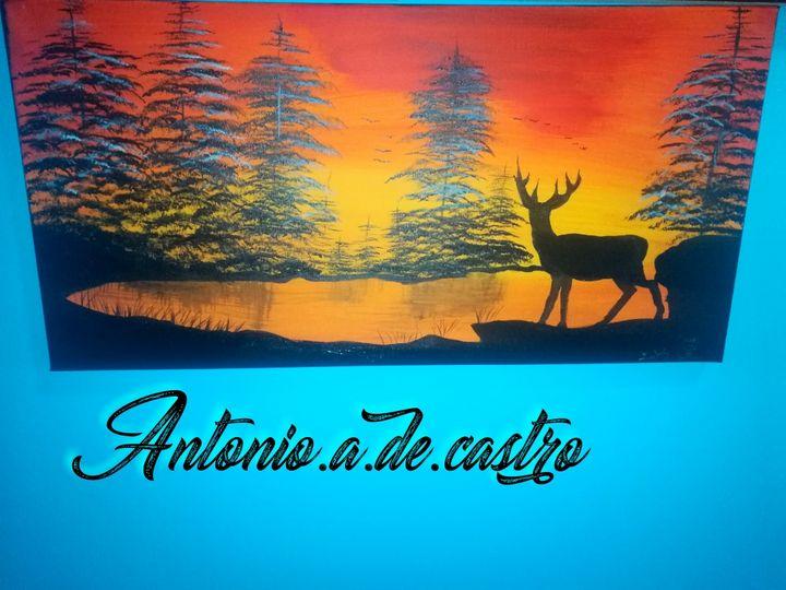 Deer in a lake - Antonio.A.De.Castro art