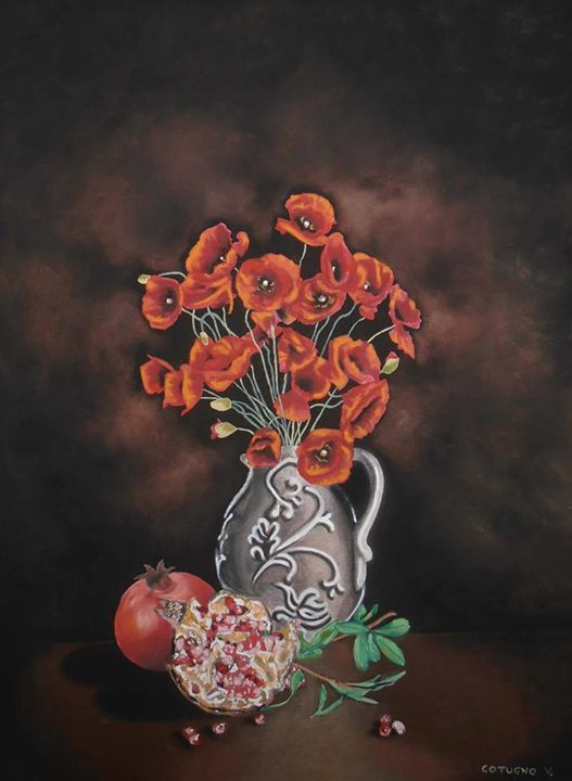 Poppies and pomegranate - Cotugno Arte