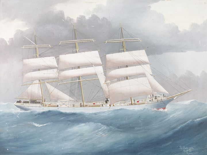 White Clipper In Rough Seas - HistoryAntics