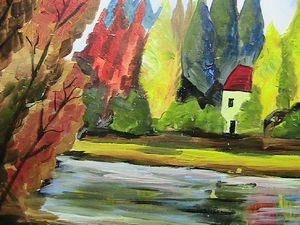 Σπίτι στο δάσος δίπλα σε ποτάμι.