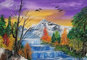 Bob Ross inspired Mountain Landscape