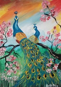 Peacock on A Cherry Blossoms Tree