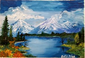 Bob Ross inspired Winter Landscape