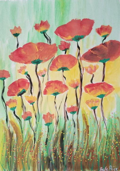Orange and Red Poppies - Belle Price