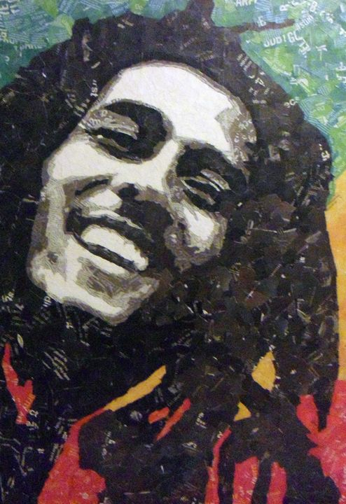 Bob Marley Collage - Paper Portraits