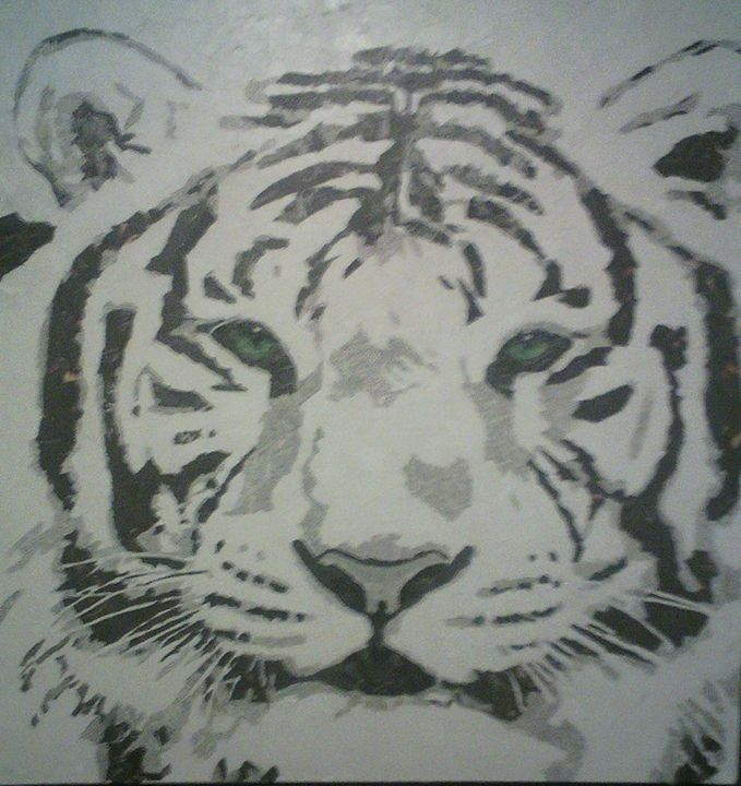 White Tiger Collage - Paper Portraits