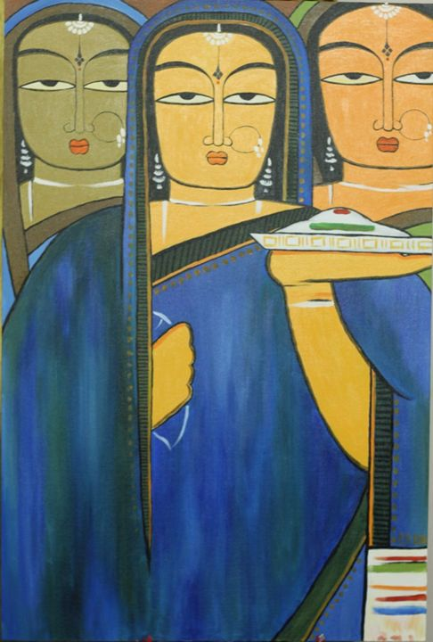 Three Pujarins (Three Worshippers) - Colorskart by Artist Sapna Amit kumar