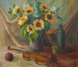 Still life with violin and sunflower