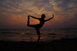 Sunset Yoga Dancer's Pose