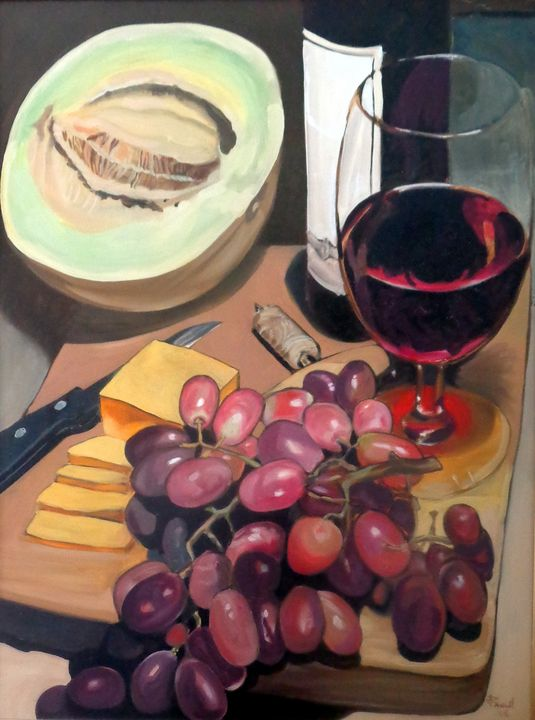 Still Life with Wine - Jeanne Russell