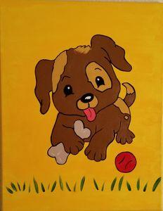 Playful Pup - P V Hughes Art