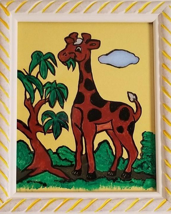 Giraffe on Painted Glass - P V Hughes Art