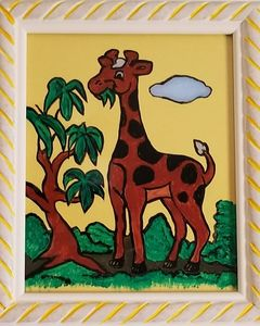 Giraffe on Painted Glass - P V Hughes Art