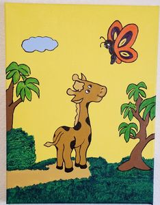 Giraffe Out for a Walk - P V Hughes Art