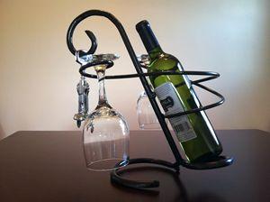 Wine Glass and Bottle Holder - Stonewall's Studio