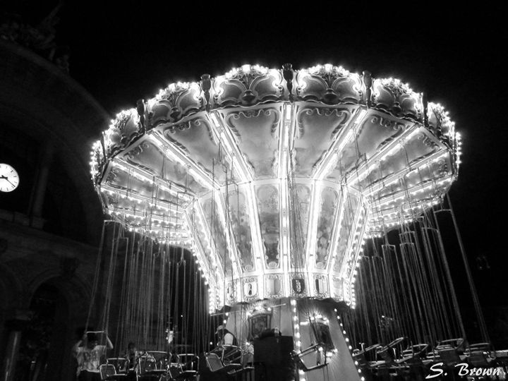 Black & White Carousel - S. Brown Photography