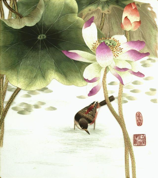 Lotus Bird 2 - Mulberry Gallery