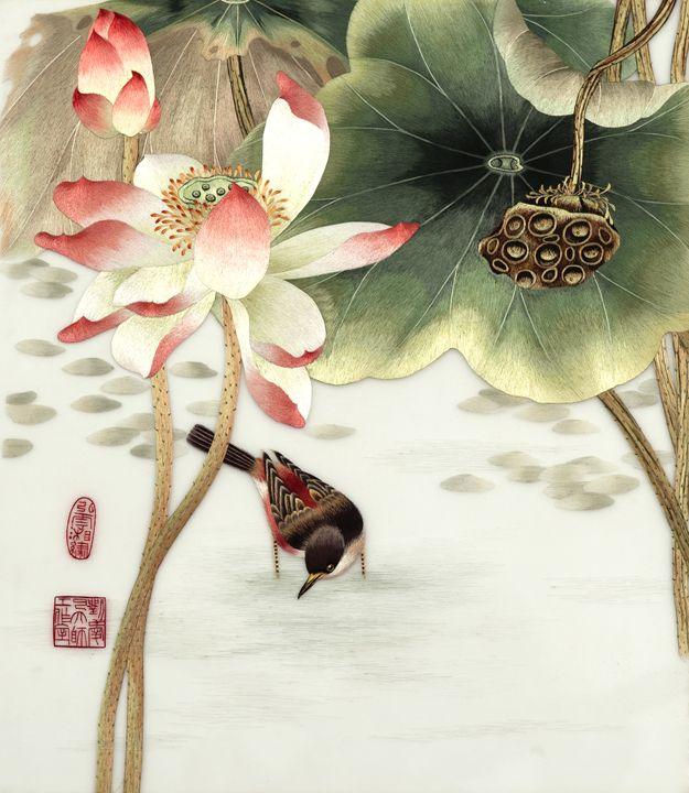 Lotus birds 1 - Mulberry Gallery