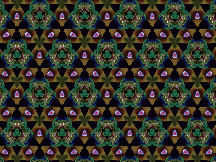 Tiling brown shapes and green shapes - Fractal art