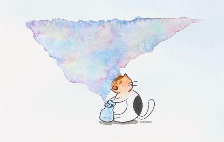 Curiosity Coloured The Cat - Drawbyluck