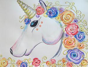 Unicorn with Flower Mane