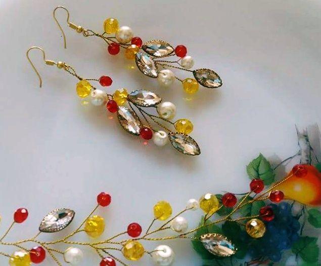 Multicolored Earrings & Hair Vine. - Funkari