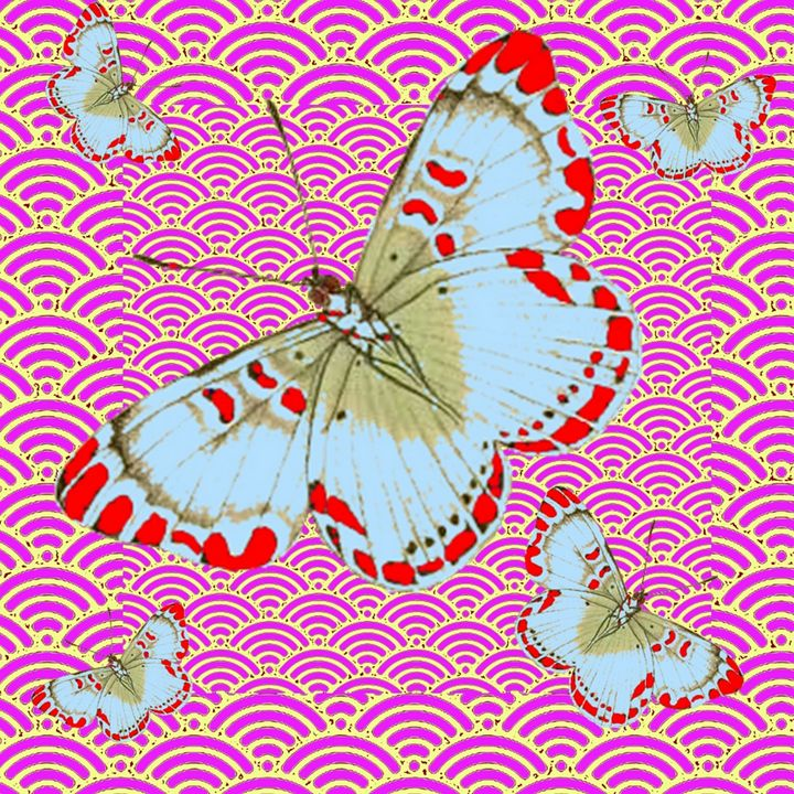 RED-WHITE BUTTERFLIES ASIAN STYLE AR - sharlesart