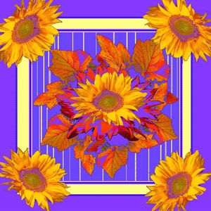 purple sunflowers autumn leaves art