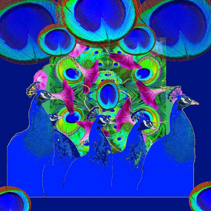 BLUE PEACOCKS,PURPLE FLOWERS ART - sharlesart