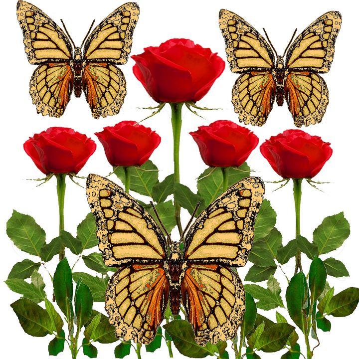 ABSTRACT BUTTERFLIES RED ROSE GARDEN - sharlesart