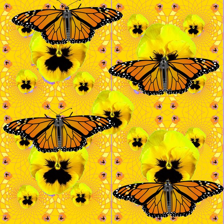 MONARCH BUTTERFLIES, YELLOW PANSY FL - sharlesart