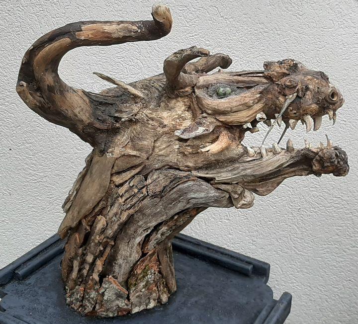 Dragon Head - Driftwood Art by JP Clough