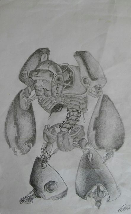 original robot pencil drawing - Carl pottle