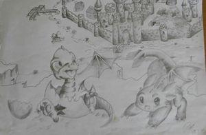 cartoon sketch, dragon castle