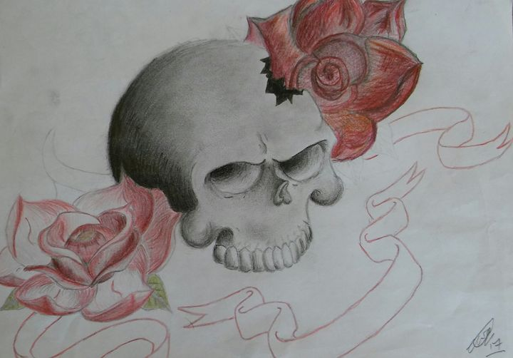 original pencil scull and roses - Carl pottle
