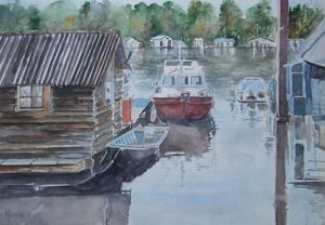 OBOATS ON THE RIVER / 43 x 30.5 cm