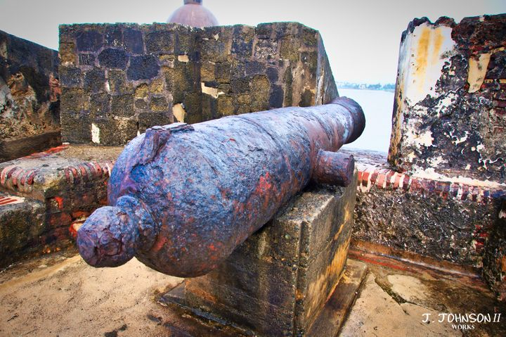 Cannon at castle - Works By J. Johnson