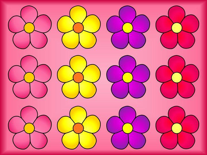 12 Daisy Flowers Pink - Geraldine Cote