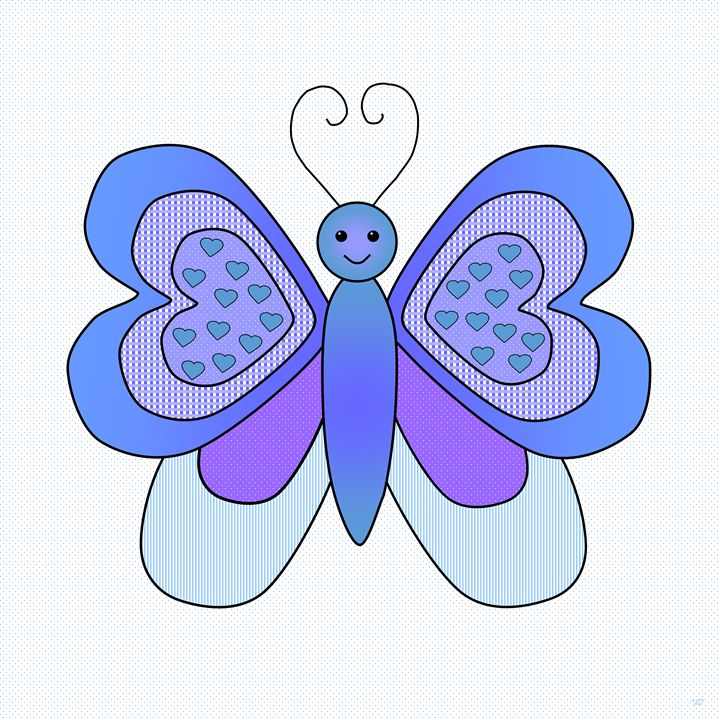 Fanciful Blue Butterfly 1 - Geraldine Cote