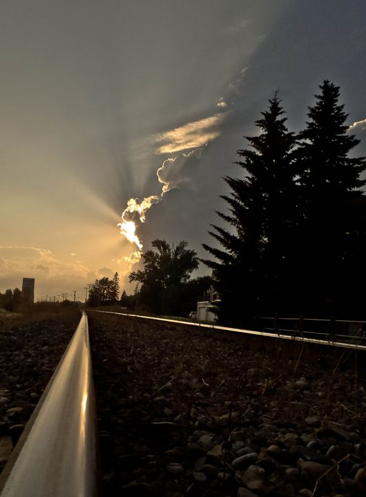 Country Train Track at dusk - Studio 5