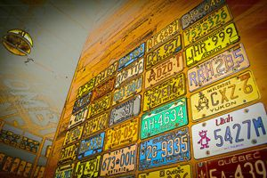 A wall of license plates