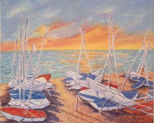 Dériveurs sur la plage - Nadya RIGAILL