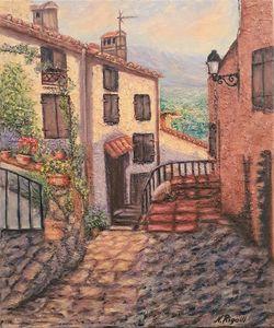 Rue étroite dans un village catalan - Nadya RIGAILL