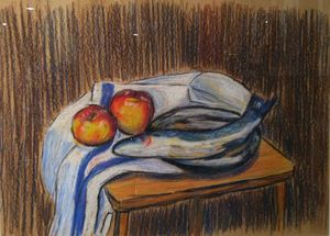 Still life with Trout and Apples - Alens Gallery