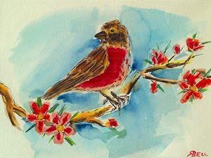 Cherry blossoms & finch - Square 1 Arts