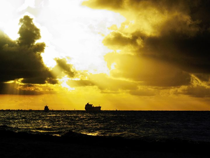 A ship is leaving Galveston Bay as t - Robert Brown Photography