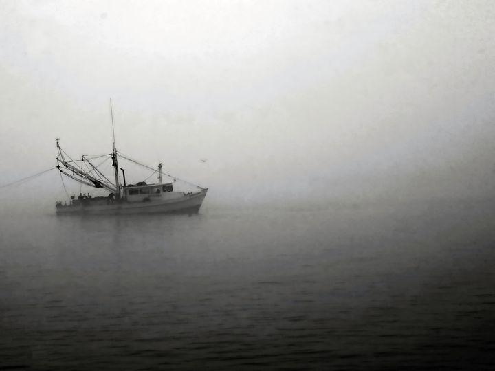 Shrimp Boat in Fog - Robert Brown Photography